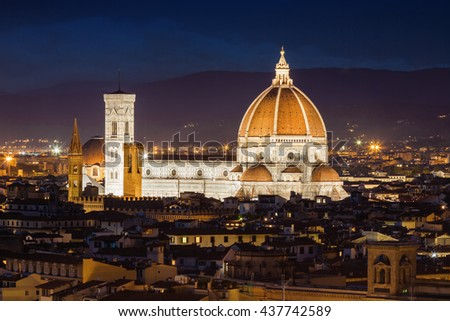 Night view of Cathedral of Santa Maria del Fiore (Duomo) in Florence, Toscana province, Italy. - stock photo