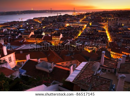 Night view of central part of Lisbon,Portugal - stock photo