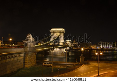 Night View of Chain Bridge over Danube River as Seen from Royal Palace in Buda Castle in Budapest, Hungary - stock photo