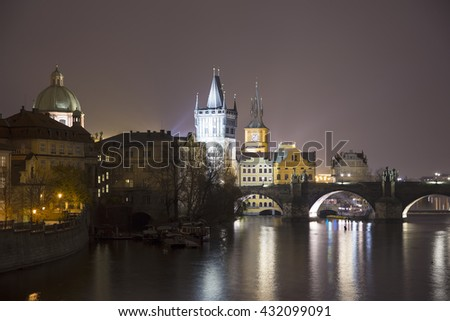 night view of Charles Bridge in Prague, Czech Republic