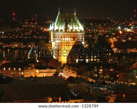 Night view of Chateau Frontenac, Quebec City. - stock photo