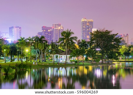 Night view of Chatuchak park lake and nature