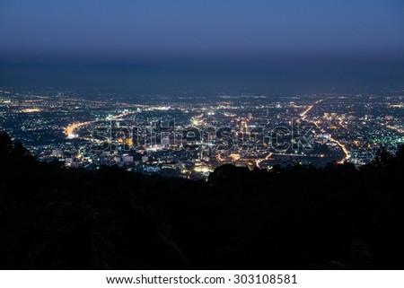 Night view of Chiangmai province,Thailand. - stock photo