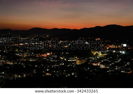 Night view of city lights for background