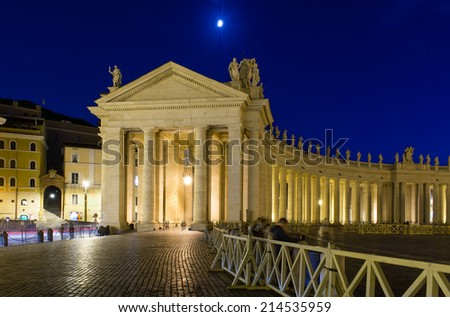 Night view of Colonnade on Saint Peter's Square in Rome, Italy