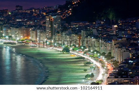 Night view of Copacabana beach in Rio de Janeiro - stock photo