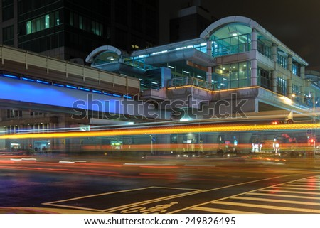 Night view of Daan MRT station in Taipei, Taiwan - stock photo