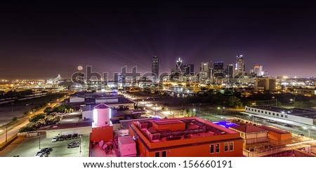 Night View of Dallas Skyline - stock photo