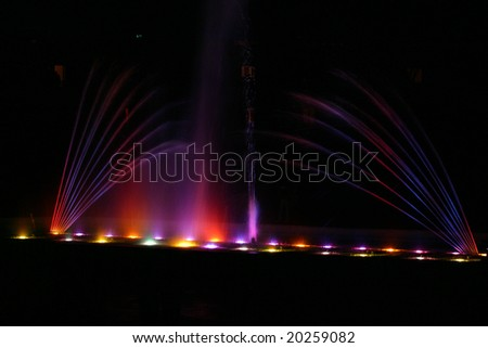 night view of  different fountain