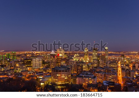 Night View of Downtown Montreal - stock photo
