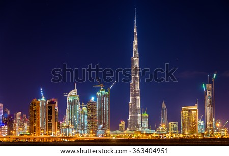 Night view of Dubai Downtown with Burj Khalifa