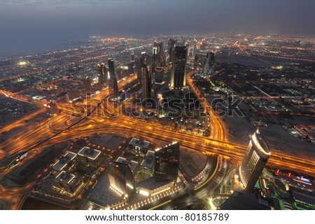 Night view of Dubai from Burj Khalifa. Dubai, United Arab Emirates