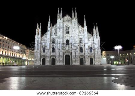 Night view of Duomo Cathedral. Milan - stock photo