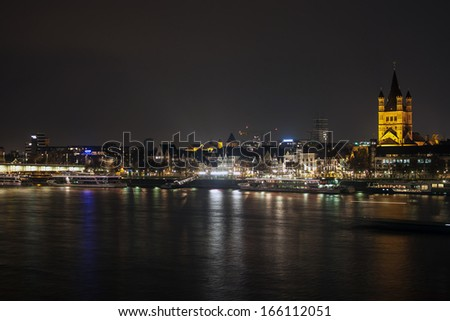 Night view of embankment in Cologne, Germany - stock photo
