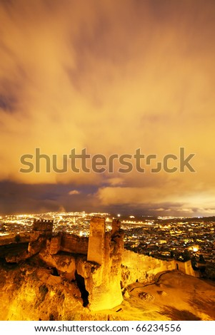 Night view of Fes El Bali, Morocco, Africa - stock photo