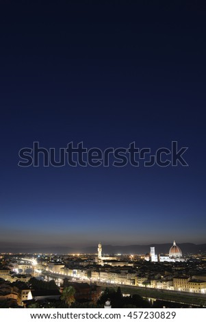 Night view of Florence - stock photo