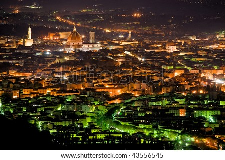 Night view of Florence from Fiesole. Tuscany, Italy. - stock photo