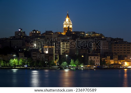 Night view of Galata Tower, Istanbul, Turkey - stock photo
