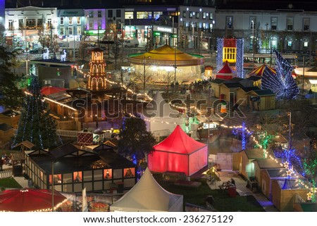Night view of Galway Continental Christmas Market. Detail. Ireland. - stock photo