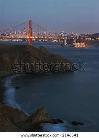 Night view of Golden Gate bridge from Marin County - stock photo