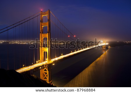 Night view of Golden Gate Bridge in San Francisco
