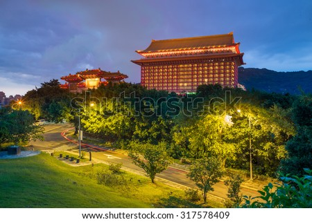 night view of grand hotel in taipei, taiwan - stock photo