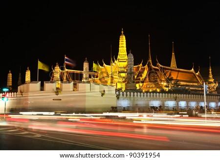 Night view of grand palace in bangkok, Thailand. - stock photo