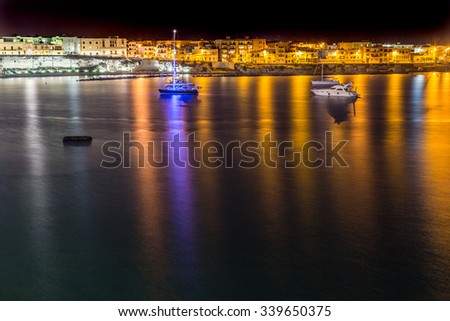 Night view of harbor of Otranto, Greek-Messapian city on the Adriatic Sea in Italy