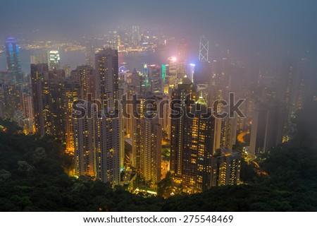 night view of hong kong  - stock photo