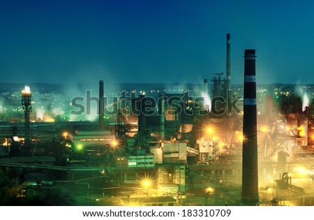 Night view  of industrial metallurgical  plant . Donetsk Ukraine - stock photo