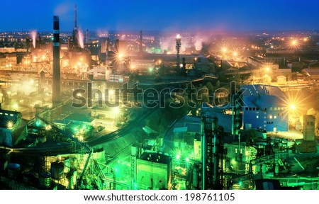 Night view  of industrial metallurgical  plant, Donetsk, Ukraine - stock photo