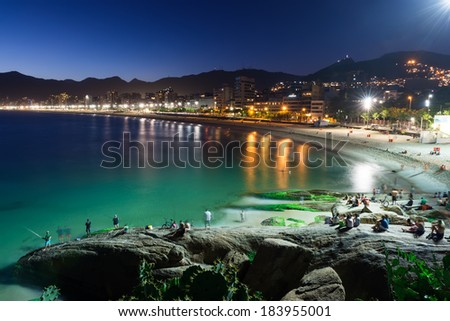 Night view of Ipanema in Rio de Janeiro, Brazil - stock photo
