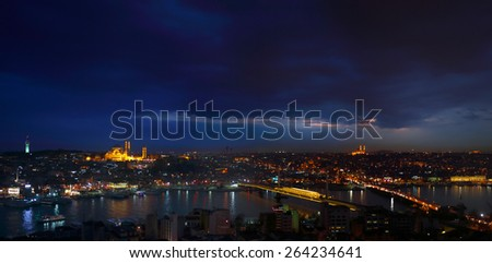 Night view of Istanbul and Big Horn from Galata Tower Bosphorus Istanbul Turkey - stock photo