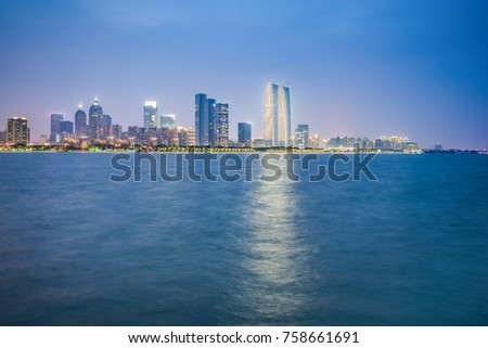 Night view of Jinji Lake, Jiangsu, Suzhou, China