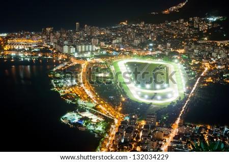 Night view of jockey club and Leblon in Rio de Janeiro - stock photo