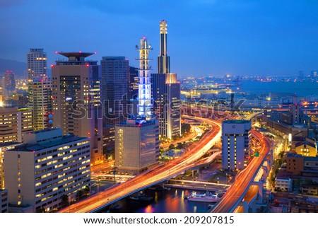 Night View Of Kobe - stock photo