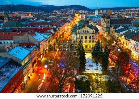 Night view of Kosice, Slovakia - stock photo