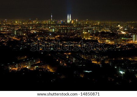 night view of kuala lumpur from far away