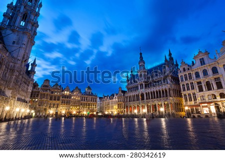 Night view of La Meuse et l'Escaut on Grand Place in Brussels - stock photo