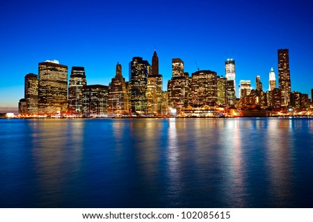 Night view of Manhattan, New York City. USA. - stock photo