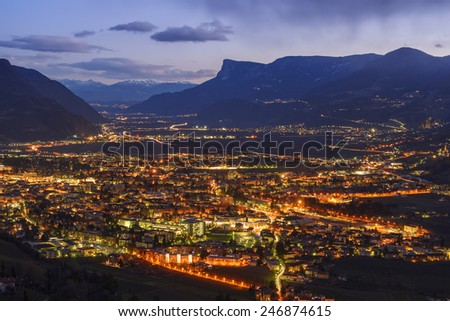 Night view of Merano, Italy, South Tyrol - stock photo