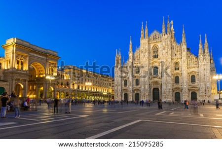 Night view of Milan Cathedral (Duomo di Milano), Vittorio Emanuele II Gallery and piazza del Duomo  in Milan, Italy - stock photo