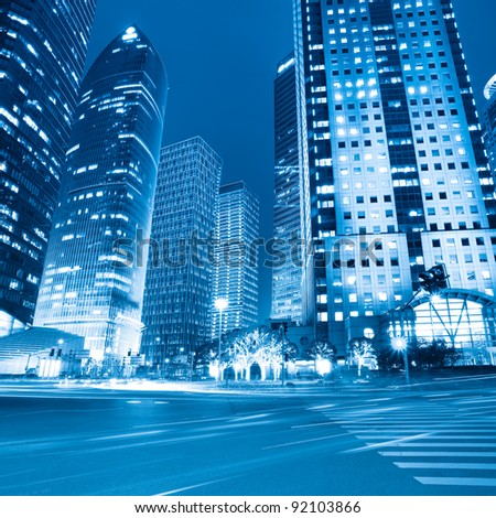 night view of modern street in lujiazui financial district shanghai,China - stock photo