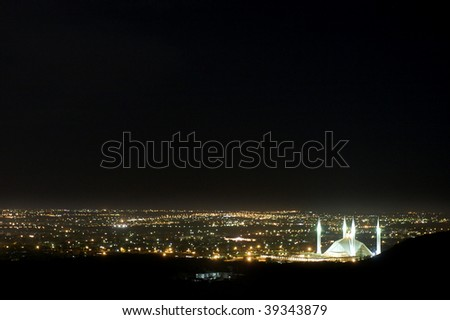 Night view of monstrous Faisal Mosque in Islamabad, Pakistan