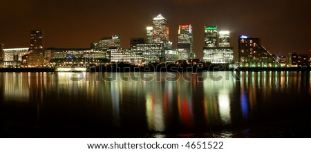 Night view of new business center of London, Canary Wharf.