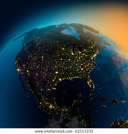 Night view of North America from the satellite to the glowing lights of towns on the sunrise from the east - stock photo