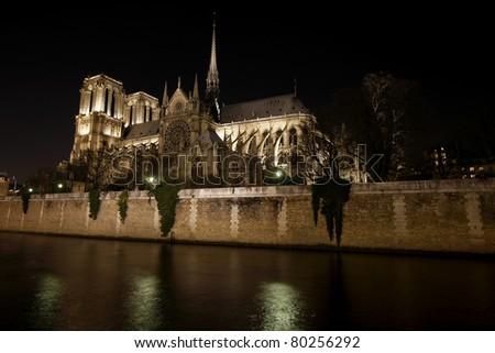 Night View of Notre Dame de Paris and Seine river, France - stock photo