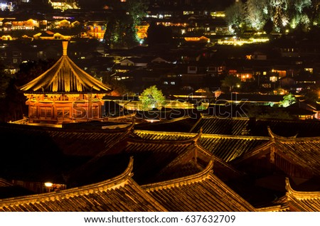 Night view of Old Town of Lijiang, Yunnan Province, China.