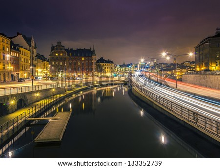 Night view of Old Town, Stockholm.