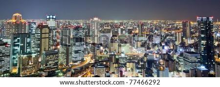 Night view of Osaka city skyline - stock photo